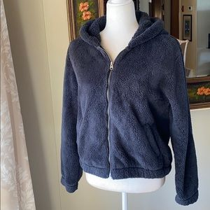 Abercrombie and Fitch Black Sherpa Zip Hoodie